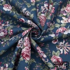 Coton imprimé Motif fleur vieux rose et violet Fond bleu indigo
