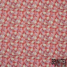 Coton imprimé Motif fleur sable et bleu roi Fond rouge