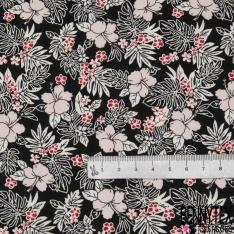 Coton imprimé Motif fleur rose pâle et rouge Fond noir