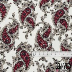 Coton imprimé Motif cachemire rouge fleur taupe et marine Fond blanc