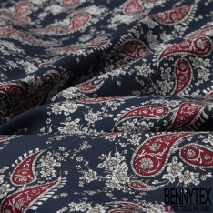 Coton imprimé Motif cachemire rouge fleur blanche Fond bleu marine