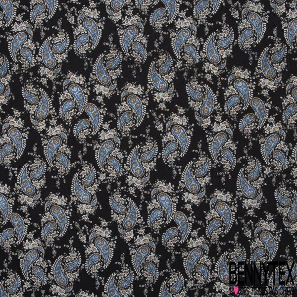 Coton imprimé Motif cachemire bleu fleur blanche et moutarde Fond noir