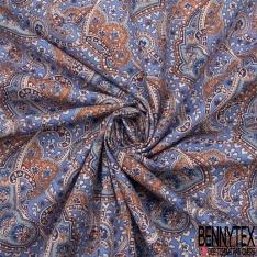 Coton imprimé Motif grand cachemire bleu gris et terracotta Fond bleuet