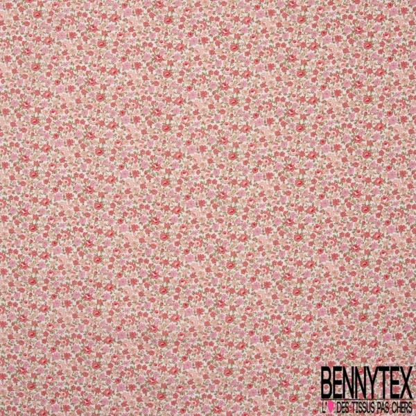 Coton imprimé Motif fleuri ton rose Fond blanc cassé