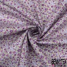 Coton imprimé Motif fleuri ton violet Fond blanc cassé