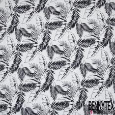 Coton imprimé Motif grande feuille bleu marine Fond blanc