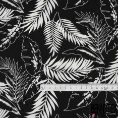 Coton imprimé Motif grande feuille blanche Fond noir
