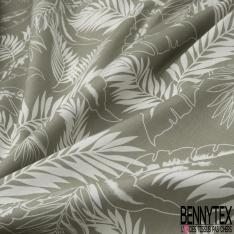 Coton imprimé Motif grande feuille blanche Fond vert sauge