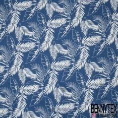 Coton imprimé Motif grande feuille blanche Fond bleu roi