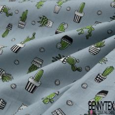 Coton imprimé Motif cactus vert Fond bleu