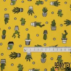 Coton imprimé Motif cactus vert Fond jaune soleil