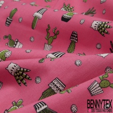 Coton imprimé Motif cactus vert Fond rose bonbon