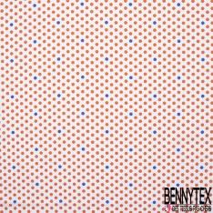Coton imprimé Motif pois corail et bleu roi Fond blanc