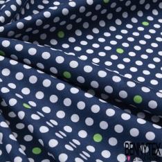 Coton imprimé Motif pois blanc et vert Fond bleu marine