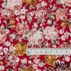Coton imprimé Motif fleur rose et paille Fond rouge