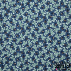 Coton imprimé Motif fleur jaune et algue vert Fond bleu marine