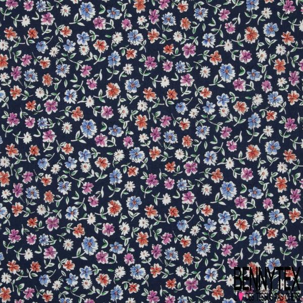Coton imprimé Motif fleur multicolore Fond bleu marine