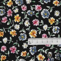 Coton imprimé Motif fleur multicolore Fond noir