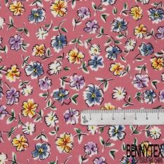 Coton imprimé Motif fleur multicolore Fond rose