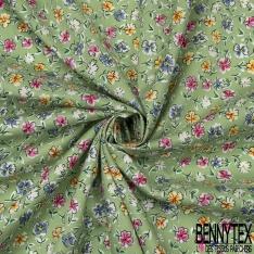 Coton imprimé Motif fleur multicolore Fond vert amande