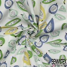 Coton imprimé Motif poire et pomme ton vert et bleu Fond blanc cassé