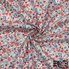 Coton imprimé Motif fleur effet peinture ton rose et bleu Fond blanc cassé