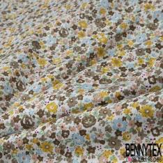 Coton imprimé Motif fleur effet peinture ton taupe et bleu ciel Fond blanc cassé