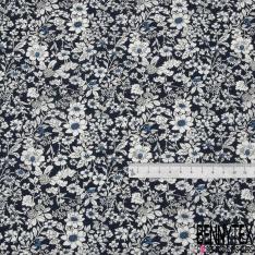 Coton imprimé Motif Floral ton Orchidée Blanc et bleu roi Vintage fond Marine