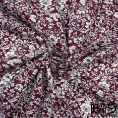 Coton imprimé Motif Floral ton Orchidée Blanc et bleu roi Vintage Fond lie de vin