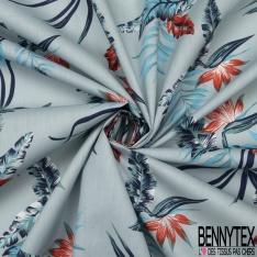 Coton imprimé Motif grande feuille bleu et corail Fond bleu clair