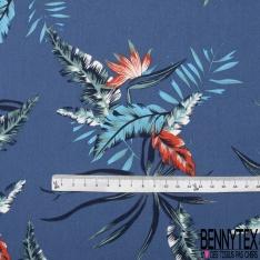 Coton imprimé Motif grande feuille bleu et corail Fond bleu marine