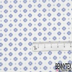 Coton imprimé Motif flocon de neige bleu marine Fond blanc