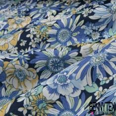 Coton imprimé Motif fleur ton bleu Fond bleu marine