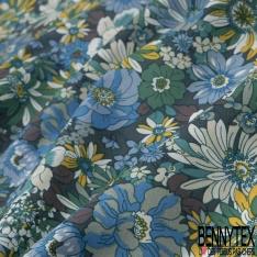 Coton imprimé Motif fleur ton vert Fond vert épinard