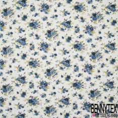 Coton imprimé Motif bouquet de fleur ton bleu Fond blanc