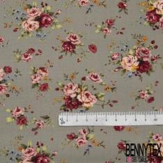 Coton imprimé Motif bouquet de fleur ton rose Fond beigeasse