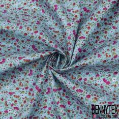 Coton imprimé Motif fleur et rose rouge et rose Fond bleu