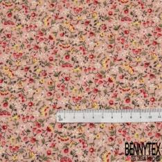 Coton imprimé Motif fleur et rose jaune et rose Fond saumon