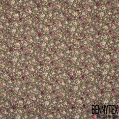 Coton imprimé Motif fleur ton rose pâle et fuchsia Fond vert kaki