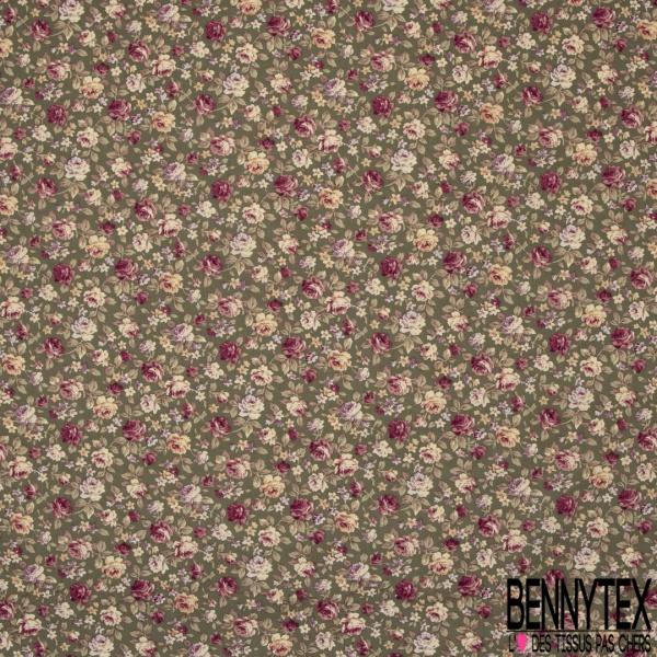 Coton imprimé Motif fleur ton rose pâle et fuchsia Fond vert kaki