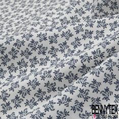 Coton imprimé Motif feuille bleu marine Fond blanc