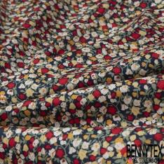 Coton imprimé Petit Motif Floral Rétro ton rouge jaune pâle et blanc Fond bleu marine