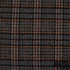 Laine Bouillie Acrylique Carreaux noir orange gris et bleu marine
