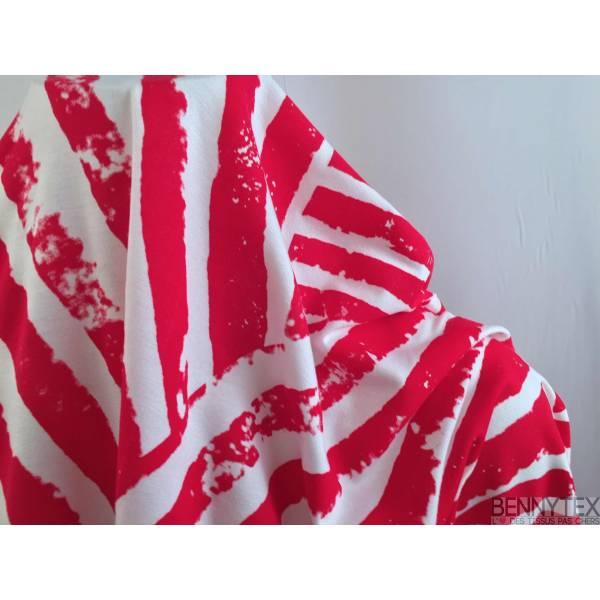 Jersey Viscose motif trait Rouge