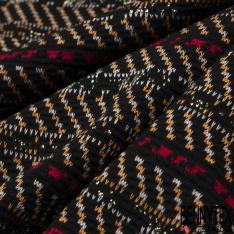 Maille Jacquard Motif rayure orange rouge beige et Lurex Fond noir