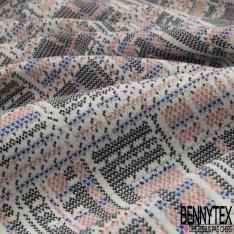 Maille Jacquard Motif pixel corail bleu roi et noir Fond écru