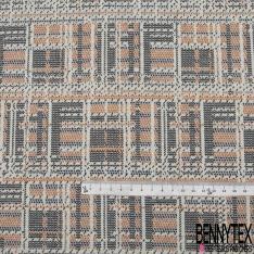 Maille Jacquard Motif pixel orange gris et noir Fond écru