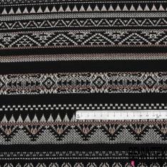 Maille Jacquard Motif rayure indienne pêche gris et écru Fond noir