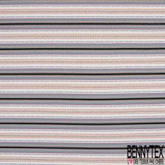 Maille Jacquard Motif rayure bleu acier clair rose orange et noir Fond écru