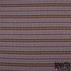Maille Jacquard Motif rayure pixel bordeaux moutarde et bleu marine Fond écru